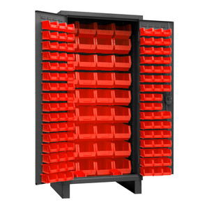 Heavy Duty Cabinet, 14 Gauge, 36 x 24 x 78, 132 Red Bins, Recessed Door With Louvered Panel, Cast Iron Pad-lockable Handle, Gray