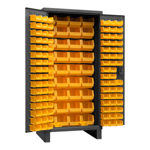 Heavy Duty Cabinet, 14 Gauge, 36 x 24 x 78, 132 Yellow Bins, Recessed Door With Louvered Panel, Cast Iron Pad-lockable Handle, Gray