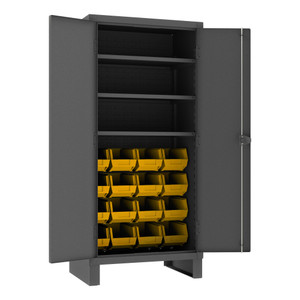Heavy Duty Cabinet, 14 Gauge, 36 x 24 x 78, 3 Adjustable Shelves, 16 Yellow Bins, Recessed Doors, Cast Iron Pad-lockable Handle, Gray