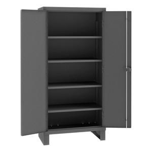 Heavy Duty Cabinet, 14 Gauge, 36 x 24 x 78, 4 Adjustable Shelves, Recessed Doors, Cast Iron Pad-lockable Handle, Gray