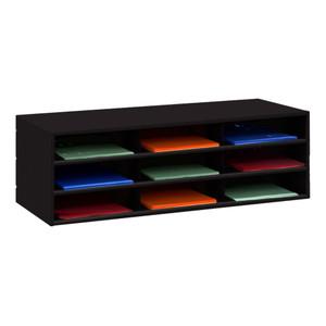 Horizontal Lit Rack, 9 Openings, Black
