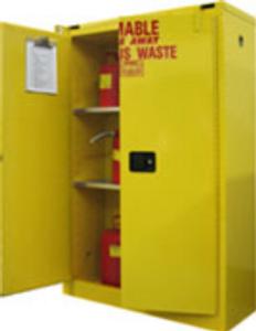 "HazMat Storage Cabinet for Safety Cans, 45 gal, Self-Close, Sliding Door, 65"" x 43"" x 18"""