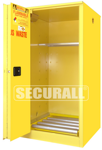 """HazMat Storage Cabinet for Safety Cans, Indoor Only, 60 gal, Self-Close, Sliding Door, 65"""" x 34"""" x 34"""""""