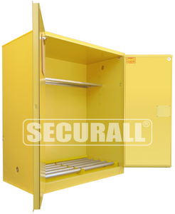 """HazMat Storage Cabinet for Drums, Safety Cans, Indoor Only, 120 gal, Self-Close, 67"""" x 56"""" x 31"""""""