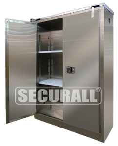 """Stainless Steel Flammable Cabinet, 45 gal, Self-Close, 67"""" x 43"""" x 18"""""""