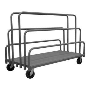 """Adjustable Panel Moving Truck With 6"""" x 2"""" Phenolic Casters, (2) Rigid, (2) Swivel, (6) Tubular Removable Dividers, Gray"""