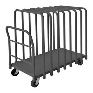 """Adjustable Panel Moving Truck With 5"""" x 2"""" Mold-On Rubber Casters, (2) Rigid, (2) Swivel, (8) Tubular Removable Dividers,, Tubular Push Handle, Gray"""