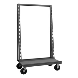 """Single Sided Adjust-A-Tray Truck With 6"""" x 2"""" Phenolic Casters, (2) Rigid, (2) Swivel,  Can Hold Up To 7 Hook-On-Trays (Sold Separately), Gray"""