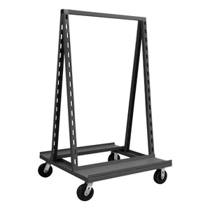 """Double Sided Adjust-A-Tray Truck With 6"""" x 2"""" Phenolic Casters, (2) Rigid, (2) Swivel, Holds Up To 14 Hook-On-Trays (Sold Separately), Gray"""