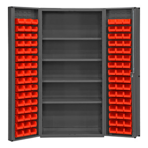 """Heavy Duty Cabinet, 14 Gauge, 36 x 24 x 72, 4 Adjustable Shelves, 96 Red Bins, 4"""" Deep Box Doors With Louvered Panel, Lockable, Chrome Handle With Keys, Gray"""