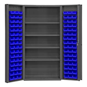 "Heavy Duty Cabinet, 14 Gauge, 36 x 24 x 72, 4 Adjustable Shelves, 96 Blue Bins, 4"" Deep Box Doors With Louvered Panel, Lockable, Chrome Handle With Keys, Gray"