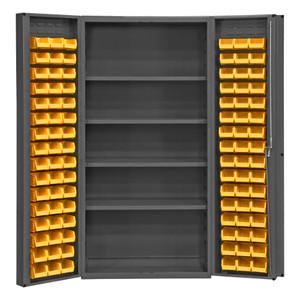 "Heavy Duty Cabinet, 14 Gauge, 36 x 24 x 72, 4 Adjustable Shelves, 96 Yellow Bins, 4"" Deep Box Doors With Louvered Panel, Lockable, Chrome Handle With Keys, Gray"