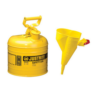 Justrite® Type I Steel Safety Can with Funnel, 2 gallon, Choose Color