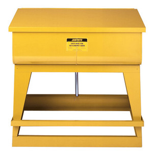 Justrite® Rinse Tank, 22 gal Foot-Operated, Self-Close Cover, Floor Standing, Yellow