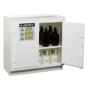 Justrite® Polyethylene Acid Safety Cabinet, for (36) 2-1/2 Liter bottles, 2-door, White