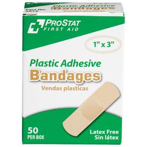 """Plastic 1""""x3"""" Adhesive Bandages, Case/24"""
