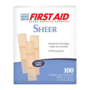 "American White Cross Sheer 3/8""x1.5"" Adhesive Bandage, Case/24"