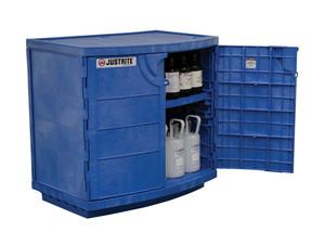 Justrite® Polyethylene Acid Safety Cabinet, for (36) 2-1/2 Liter bottles, 2-door, Blue