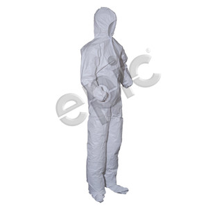 Disposable Coveralls, Microporous Coated, White with Hood and Booties, case/25