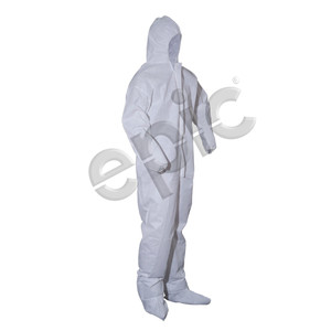 Disposable Coveralls, Onesie Suit with Hood and Booties, White, case/25