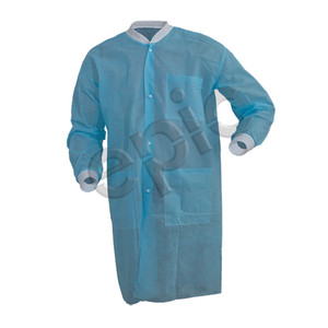 Disposable Lab Coats, 3 Pockets, Light Weight PP, Blue, case/50