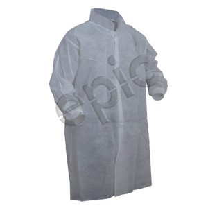 Premium PP Lab Coat with out Pocket, White, case/50