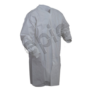 Microporous Coated Cleanroom Smock with out Pockets, White, case/30