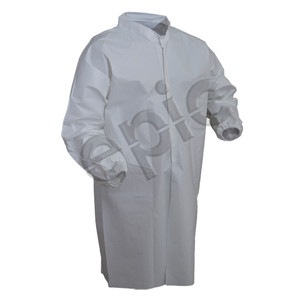 Microporous Coated Smock with Elastic Wrists, White, case/30