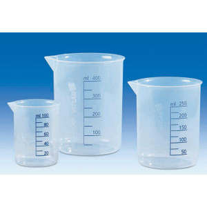 Griffin Beaker, PP, Molded and Printed Graduations, 3000mL, Pack/4