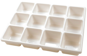 Lab Tray with Compartments, PVC, 12-Cavity, 3.5 x 3.5""