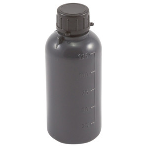 Lockable (Tamper Evident) Security Bottles, Opaque Gray LDPE, 125mL, case/50