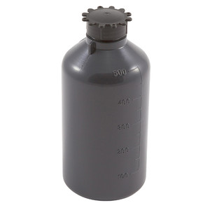 Lockable (Tamper Evident) Security Bottles, Opaque Gray LDPE,500mL, case/25