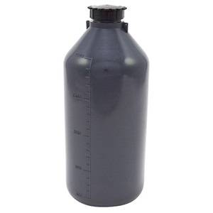 Lockable (Tamper Evident) Security Bottles, Opaque Gray LDPE, 2000mL, pack/2