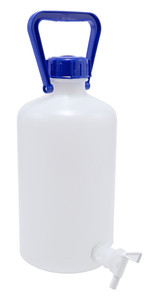Carboy with Spigot, Narrow Mouth, Heavy Walled HDPE w/ O-Ring, 5L