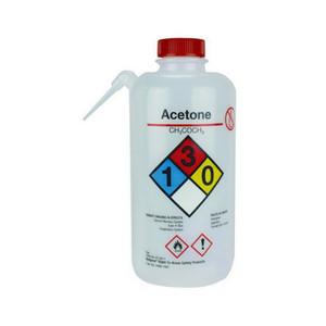 Nalgene® 2436-1001 Wash Bottle Unitary RTK, Acetone, LDPE, Red 1L, case/12