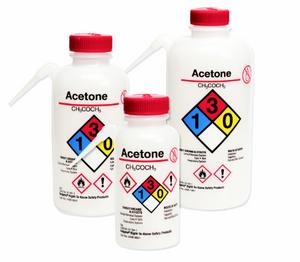 Nalgene® 2436-0501 Wash Bottles Unitary RTK, Acetone LDPE, Red, 500mL, case/24