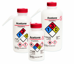 Nalgene® 2436-0506 Wash Bottles Unitary RTK, Sodium Hypochlorite, LDPE, White, 500mL, case/24