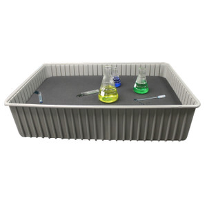 Shown with optional divider and bench top, and lab items (not included)