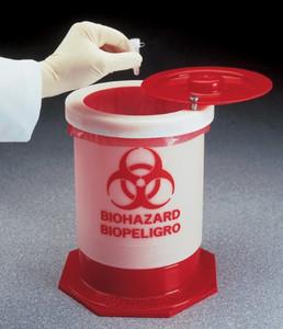 Nalgene® 6370-0004 Waste Container, Biohazardous, PP, 1.5 gallon, Each