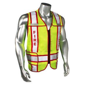 FIRE Class 2 Safety Vest, Breakaway with Reflective Tape, Red Trim