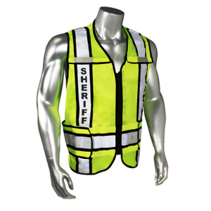 SHERIFF Class 2 Safety Vest, Breakaway with Reflective Tape, Contrast Trim, Black, Regular