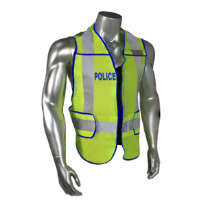POLICE Class 2 Safety Vest, Breakaway, Fluorescent Green with Reflective Tape