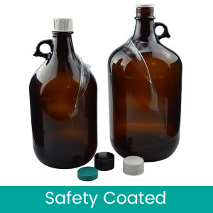 2 Liter Safety Coated Amber Jug with 38-430 Black Phenolic Rubber/PTFE Faced Caps, case/6