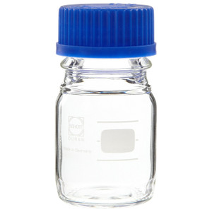 Glass Media Bottles, 100mL, GL-45, Blue Cap, Schott, case/10