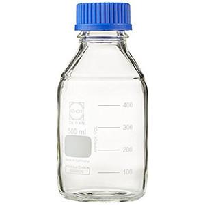 Glass Media Bottles, 500mL, GL-45, Blue Caps, Schott, case/10