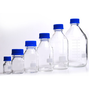 Glass Media Bottles, 2,000mL, GL-45, Blue Caps, Schott, case/10