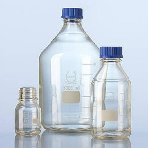 Glass Media Bottles, 20 Liter, Borosilicate Glass, GL-45, Blue Cap