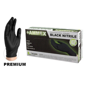 Black Stretch-Nitrile Exam Gloves, Premium FDA-Approved, Powder-Free, case/1000