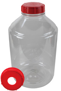 shown with standard fermentation lock (not included) inserted into the rubber stopper (included) and screw cap with hole (included)