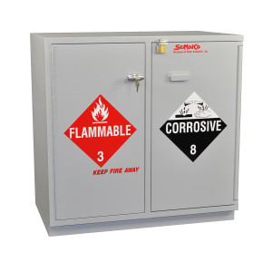 "SciMatCo SC2036 35"" Partially Lined Under-the-Counter Combination Acid/Flammables Cabinet"
